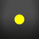 un tondo giallo al centro di un quadrato grigio scuro