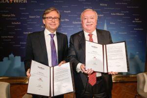 Dr. Alexander Wrabetz (left) and Dr. Michael Häupl signed the memorandum today.