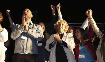Manuela Carmena celebra los resultados de las elecciones municipales