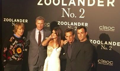 de izq. a dcha. Owen Wilson, Will Ferrel, Penélope Cruz, Ben Stiller y Justin Theroux a su llegada a los cines Capitol.
