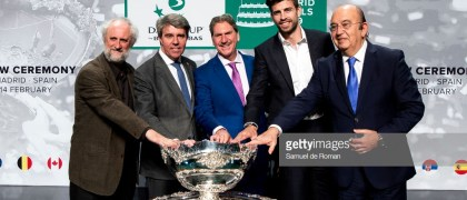 MADRID, SPAIN - FEBRUARY 14: Luis Cueto, Ángel Garrido, David Haggerty and Gerard Piqué attend the draw for the Davis Cup Finals. on February 14, 2019 in Madrid, Spain. Madrid will host the Davis Cup Finals from November 18-24, with the draw determining in which groups the 18 nations will compete. (Photo by Samuel de Roman/Getty Images)
