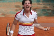 Spanish player Carla Suarez Navarro reacts after winning against Italian player Flavia Pennetta during their French tennis Open fourth round match at Roland Garros, on June 01, 2008 in Paris. Suarez Navarro won 6-3, 6-2. AFP PHOTO / Thomas Coex (Photo credit should read THOMAS COEX/AFP/Getty Images)