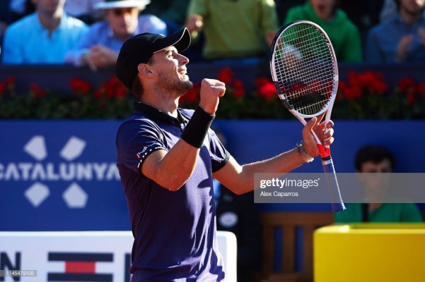 BARCELONA, SPAIN - APRIL 27: Dominic Thiem of Austria celebrates defeating Rafael Nadal of Spain during their semifinal match during day six of the Barcelona Open Banc Sabadell at Real Club De Tenis Barcelona on April 27, 2019 in Barcelona, Spain. (Photo by Alex Caparros/Getty Images)