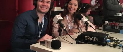 Marina Elena y Matteo Allievi en el Teatro Real retransmitiendo el Sorteo Extraordinario de Navidad