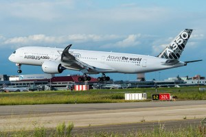 Airbus A350-900 lands after route proving