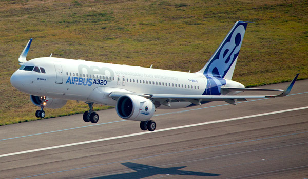 Airbus A320neo takes off for its first flight