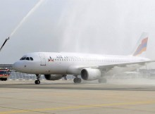 Water cannon salut for Air Armenia at Frankfurt Airport