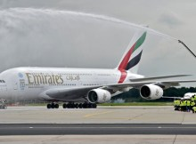 Emirates Airbus A380 welcomed at Frankfurt Airport by a water cannon salute