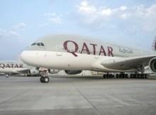 Qatar Airways Airbus A380 at Airbus factory in Hamburg