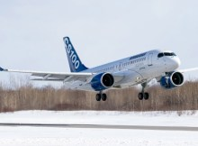 Bombardier CS100 FTV5 took off to the skies (© Bombardier Aerospace)