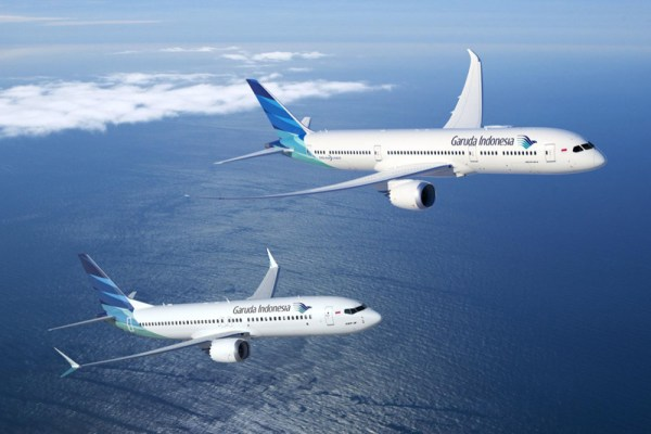 Boeing 787-9 and 737 MAX in the livery of Garuda Indonesia (© Boeing)
