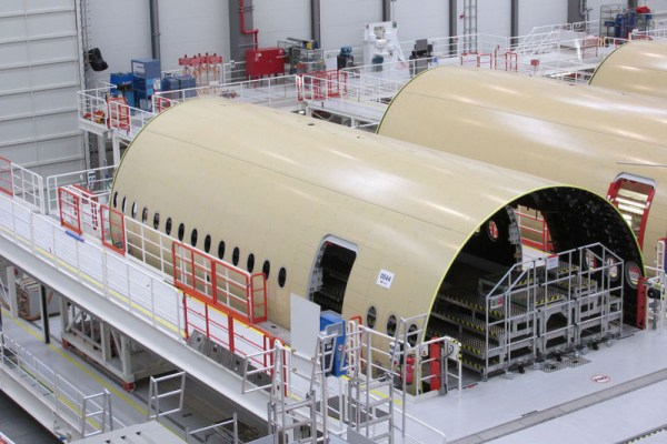"The no. 1 A350 XWB for Thai Airways International (THAI) is advancing well with major components – including the ""forward fuselage"" – progressing toward the start of final assembly in October 2015 (© Airbus)"