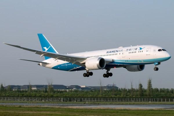Xiamen Airlines Boeing 787-8 (CC-BY SA 4.0, D. Yu)
