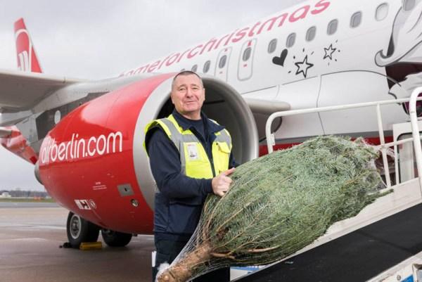 Air Berlin befördert wieder kostenlos Weihnachtsbäume (© airberlin)