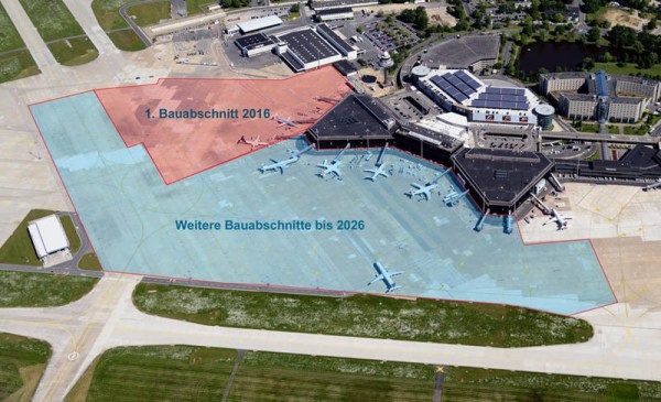 Geplante Bauabschnitte am Flughafen Hannover (© HAJ Airport)