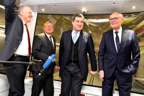 V.l.n.r.: Thomas Weyer, Dr. Michael Kerkloh, Dr. Markus Söder, Thomas Winkelmann (© A. Friedel,/FMG)