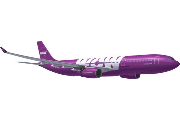 Airbus A330 in WOWair-Farben (© WOW Air)