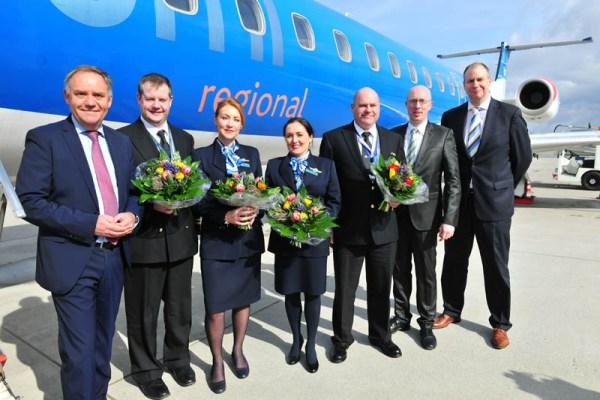 Begrüßung der bmi regional am Flughafen Rostock-Laage (© A. Heim)