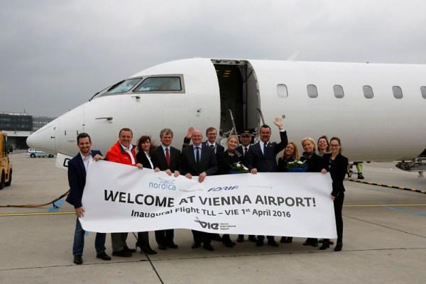 Begrüßung des Nordica-Erstflugs in Wien (© VIE Airport)