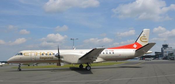 Saab 2000 der Etihad Regional am Flughafen Paderborn (© PAD)