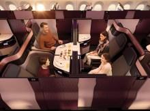 Familien können in der QSuite gemeinsam reisen (© Qatar Airways).