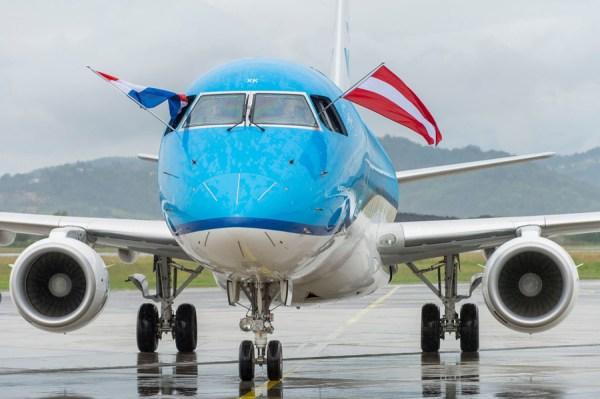 Erstflug der KLM von Amsterdam nach Graz (Foto: Fischer/Flughafen Graz)