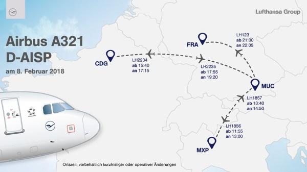 Geplante Europa-Tour der neu gestalteten A321 (© LH)