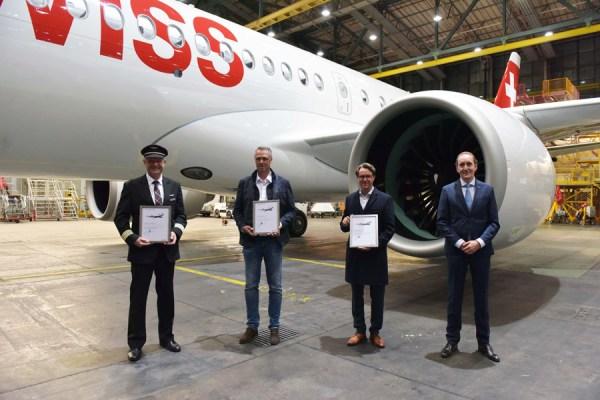 "Ankunft des 30. Airbus A220 ""Davos"" am 24.5.2021 (Foto: Swiss)"