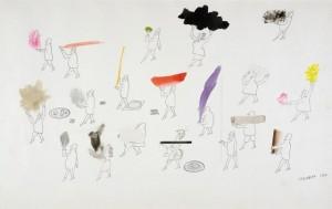 Saul STEINBERG, Parade, 1952, Mischtechnik auf Papier, 36 x 57,5 cm. Collection M. et Mme Niemann  © The Saul Steinberg Foundation/ARS, ADAGP Paris 2009 © Musées de la Ville de Strasbourg/ Mathieu Bertola