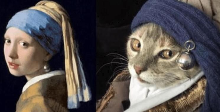 Corona weltweit beflügelt Kunst. Hier: Mona Lisa als Katze interpretiert