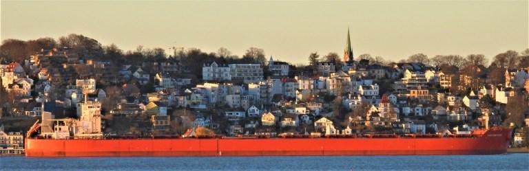 Vor Hamburg-Blankenese auf der Elbe: Ein Schiff ist gekommen
