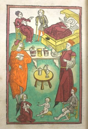 The inside of a surgery, from Hortus sanitatis, Inc.3.A.1.8[37]