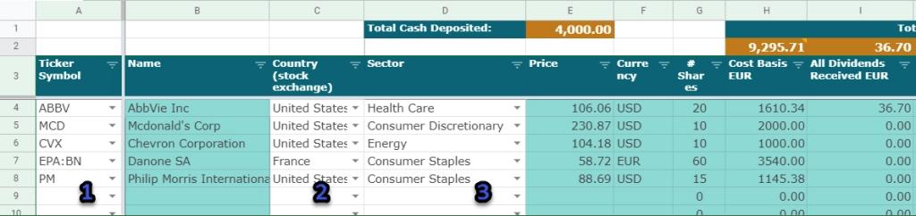 Dividend Growth Portfolio - Main sheet