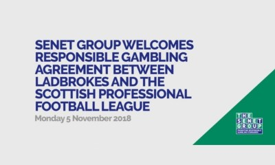 Senet Group welcomes responsible gambling agreement between Ladbrokes and the Scottish Professional Football League