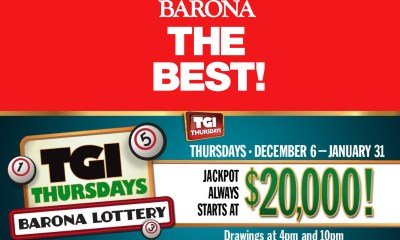 Barona Resort and Casino's TGI Thursdays Barona Lottery Returns for the Holidays from December 6 through January 31