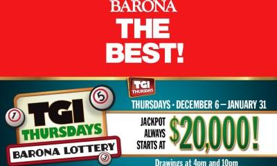 Barona Resort and Casino's TGI Thursdays Barona Lottery Returns for the Holidays from December 6 through January 31