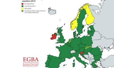 EGBA Publishes Overview Map Of Europe's Online Gambling Licensing Regimes