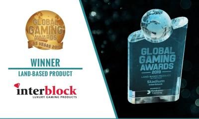 Interblock Gaming's Stadium chosen as Land-Based Product of the Year at Global Gaming Awards Las Vegas