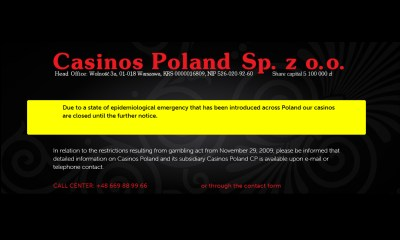 Century Casinos Announces Temporary Closure of Polish Casinos