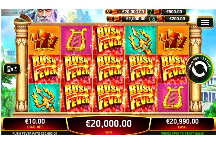 RubyPlay® launches new video slot Zeus Rush Fever