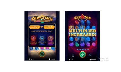 Celestial Gems, a way game that allows you to choose your winning bonus feature and win up to 9,720x in wager