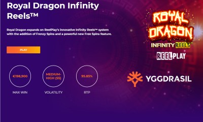 Yggdrasil and ReelPlay combine to provide Games Lab's majestic new hit Royal Dragon Infinity Reels™