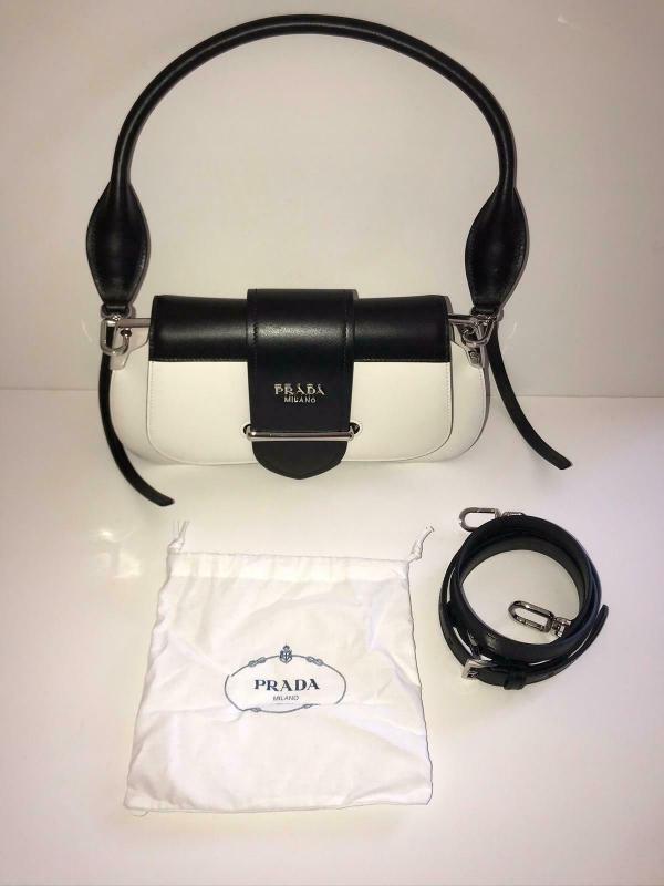 Prada 1bd168 sidione leather shoulder bag white black