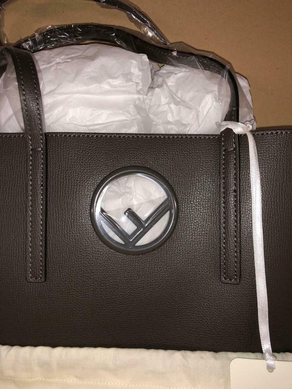 Fendi 8bh348 shopping logo leather tobacco coal