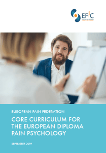 Core Curriculum for the European Diploma in Pain Psychology (EDPPsy)