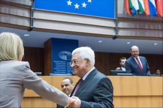 Ο Παλαιστίνιος πρόεδρος Μαχμούτ Αμπάς στην ολομέλεια του ΕΚ, στις Βρυξέλλες (Ιούνιος 2016)