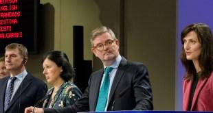 Andrus Ansip, Vĕra Jourová, Julian King a Mariya Gabriel
