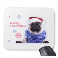 Pug In Santa Hat Mousepad