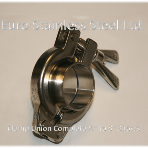 "Clamp Union Complete 1/2"" to 8"" 316s/s"