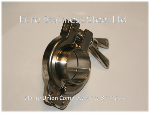 """Clamp Union Complete 1/2"""" to 8"""" 316s/s"""